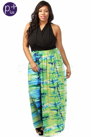 Plus Size Back Cross Bottom Multi Color Print Maxi Dress