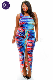 Plus Size Multi Color Print Draped Skirt With Crop Top Set
