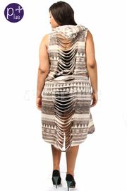 Plus Size Printed Razor Back Sleeveless Cardigan