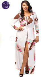 Plus Size Long Sleeve Printed Front Tie High low Printed Romper