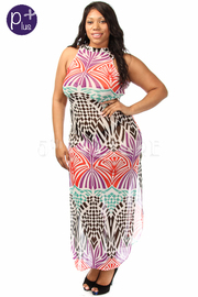 Plus Size Colorful Abstract Mesh Maxi Dress