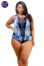 Plus Size Denim Mesh Bodysuit