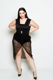Plus Size Laced Bodysuit Overlap Dress