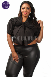 Plus Size Tie Solid Casual Top