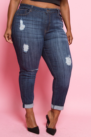 Plus Size Ripped Skinny Fold Over Jeans
