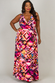 Plus SIze Sleeveless maxi print dress