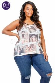Plus Size Collage Fashion Top