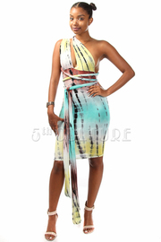 V-neck Tie Back Dye Dress