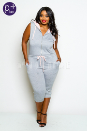 Plus Size Zipper Detail Hoodie Capri Jumpsuit