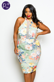 Plus Size Mesh Trim Floral Sexy Dress
