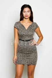 Cheetah Print V-Neck Dress With Skinny Belt
