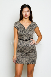 Cheetah Print V-Neck Dress With Skinny Belt