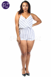 Plus Size Surplice Striped Casual Romper