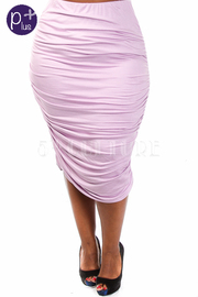 Plus Size Ruched Midi Skirt