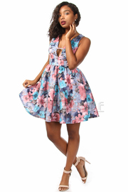Spring Floral Keyhole Skater Dress