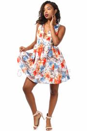 Spring Floral Keyhole Skater Dress