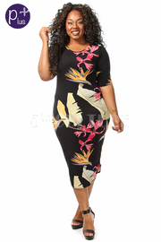 Plus Size Floral Printed Midi Fit Dress