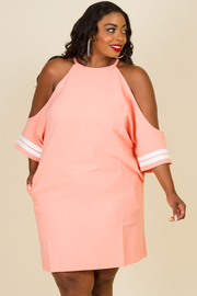 Plus Size Open Shoulder Striped Dress