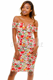 Off Shoulder Flowers Printed Dress