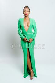 Long Sleeve Deep V-Cut Slit Maxi Dress