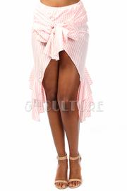 Striped High Low Tie Ruffle Skirt