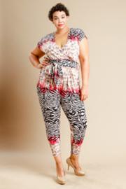 Plus Size Wild Printed Surplice Jumpsuit
