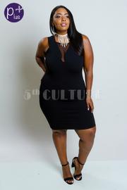 Plus Size Mesh Trim Solid Mini Dress