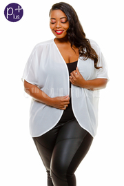 Plus Size Open Sheer Cardigan