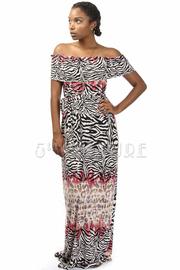 Off Shoulder Zebra Printed Tie Waist Maxi Dress