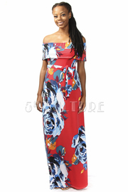 Off Shoulder Floral Maxi Dresss