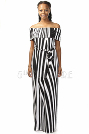 Off Shoulder Striped Tie Maxi Dress