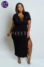 Plus Size Cross Straps Slit Maxi Dress