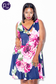 Plus Size Spring Floral Flared Dress
