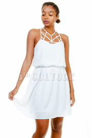 Caged Solid Sheer Flared Dress