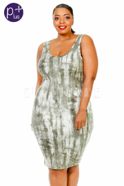 Plus Size Tie Dye Fitted Dress