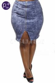 Plus Size Zipper Down Denim Midi Skirt