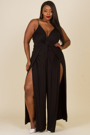 Plus Size Slit Sides Twist Jersey Jumpsuit
