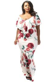 Plus Size Floral Maxi Sweet Dress