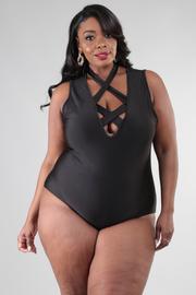 Plus Size Criss Cross Straps Bodysuit