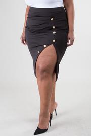 Plus Size Sailor Button Side Slit Skirt