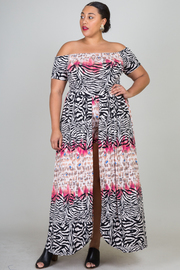 Plus Size Off Shoulder Zebra Print Maxi Dress With Short Lining Detail