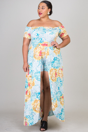 Plus Size Off Shoulder Casual Floral Maxi Dress With Shorts Lining Detail.