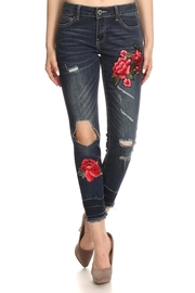 Floral Patch Hole Knee Side Jeans