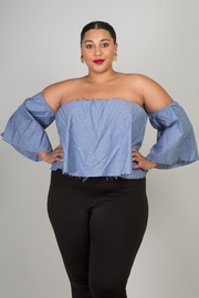 Plus Size Off The Shoulder Flair Loose Solid Top
