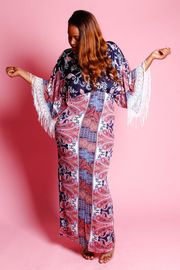 Plus Size V-neck Ethnic Border Kimono Maxi Dress