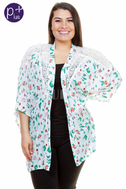 Plus Size Floral Open Sheer Cardigan
