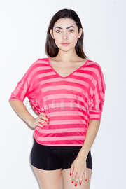 Stripe Two Tone Lace Dolman Top
