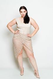 Plus Size Laced Bodysuit Overlap Dress