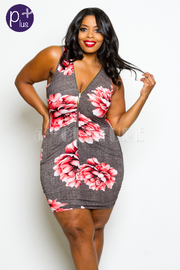 Plus Size Zipper Down Floral Ruched Fit Dress
