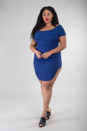Plus Size Off Shoulder Striped Fit Dress